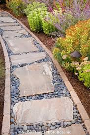 Backyard Walkway Ideas A Pathway Lined In Brick With Stepping Stones And Pebble Filler