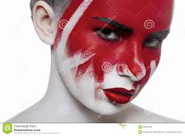 bloody makeup closeup beauty face with blood stock photo image