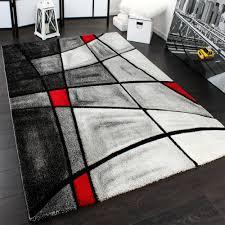 Modern Rug by Designer Carpet Modern Rug Chequered Contour Cut Pattern Grey Red