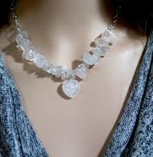 necklace etsy images Rose quartz necklace gemstone heart necklace pink gemstone jpg