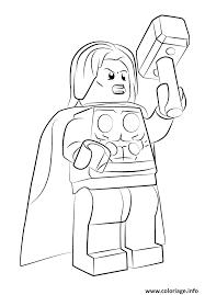 Coloriage Lego Marvel Thor Avengers dessin