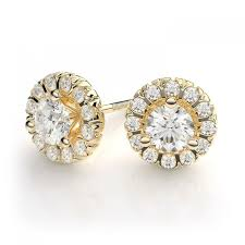 gold diamond stud earrings 75ctw martini style halo diamond stud earrings in 14k yellow gold