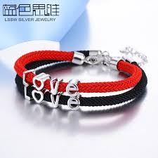 silver rope charm bracelet images Blue sweet couple bracelets black red rope bracelets set for jpg