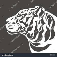 white tiger head profile side view stock vector 54082945