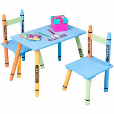 3 piece table and chair set giantex 3 piece crayon kids table chairs set wood children
