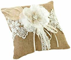 wedding pillow rings lillian rustic burlap country lace wedding ring