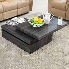 amazon com virrea oak square rotating wood coffee table with 3