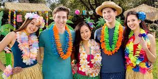 Tropical Themed Clothes - hawaiian leis luau tinsel u0026 flower leis party city