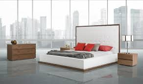 White And Walnut Bedroom Furniture Beth Modern Walnut With White Leatherette Bed