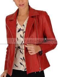perfecto women red leather biker blazer