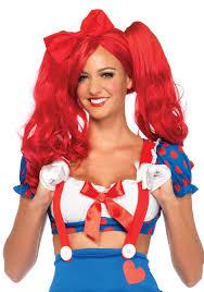 halloween doll wig leg avenue a2732 dolly bob wig with clip on pony tails