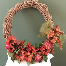 grapevine wreath with flowers and bow wreaths by jenn