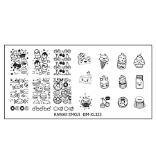 kawaii emoji xl nail art stamping plate set too sweet to eats