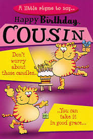 funny humorous female cousin happy birthday card 3 x cards to