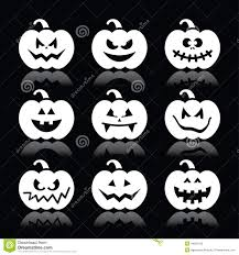white and and black halloween background halloween pumpkin icons set on black background stock illustration