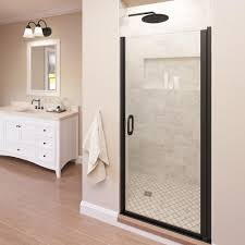 Shower Doors Basco Basco Infinity 33 In X 65 9 16 In Semi Frameless Hinged Shower