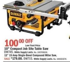 Job Site Table Saw Dewalt 10