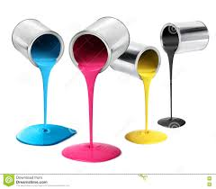 metal tin cans pouring cmyk color paint stock photo image 72656944