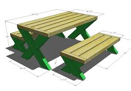 Table Size Ana White Build A Modern Kid U0027s Picnic Table Or X Benches Diy