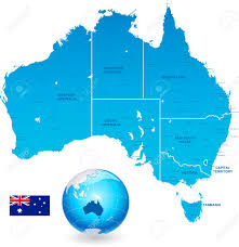 New South Wales Flag High Detail Vector Map Of Australia With States And Major Cities