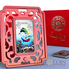 islands pisces 1 zodiac signs series colored silver rectangular