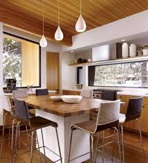 modern yet stylish kitchen remodelling ideas and tips design three teardrop pendant lighting over kitchen island table with stool for breakfast nook and wall kitchen shelves