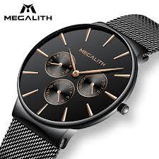bracelet design watches images New watch 2018 megalith watch men black steel strap mesh bracelet jpg