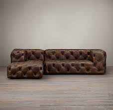 modern tufted leather sofa soho tufted leather left arm sofa chaise soho tufted restoration