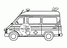 ambulance car with flasher coloring page for kids transportation