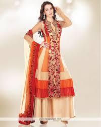 de prepossessing cream orange and red stylish designer suit