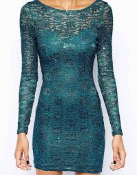 lipsy lace sequin bodyconscious dress with long sleeves in blue lyst