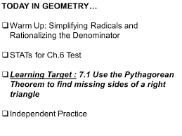 today in geometry u2026 warm up simplifying radicals and