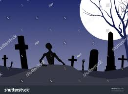 zombie graveyard halloween card background stock illustration