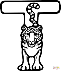 letter t is for tiger coloring page free printable coloring pages