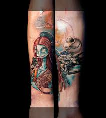 color nightmare before christmas tattoo sleeve started a photo