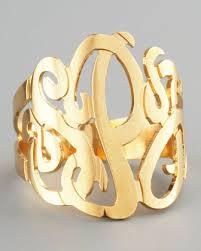 monogram rings gold three initial monogram ring initials monograms and third