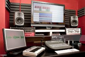 small sound recording studio desk stock photo getty images