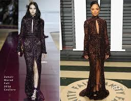 Vanity Fair Oscar Party Tessa Thompson In Zuhair Murad Couture 2017 Vanity Fair Oscar