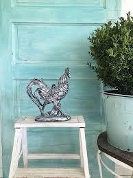 silver rooster statue kitchen chicken farm house decor farm house