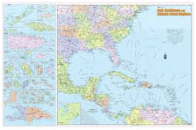 Caribbean Map by Wall Maps Posters Cool Owl Maps Gulf Caribbean U0026 Atlantic
