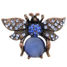 sapphire blue bee crystal pin brooch fantasyard costume jewelry