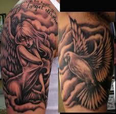 memorial angel sleeve tattoo designs photos pictures and