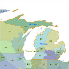 State Of Michigan Map by Area Code Map Of Michigan Michigan Map