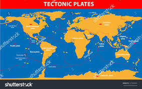 Plate Tectonics Map Plate Tectonics Earths Lithosphere Scientific Theory Stock