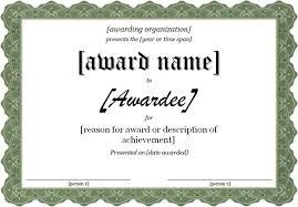 blank award certificate templates word powerpoint award