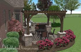 Backyard Brick Patio Design With 12 X 12 Pergola Grill Station by Curvy Brick Patio Design With Pergola Downloadable Patio Design