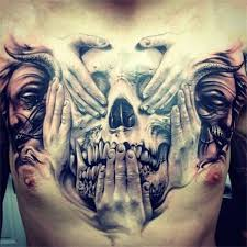 skulls and faces chest for hear no evil see no evil