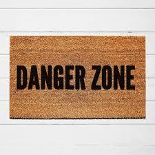 danger zone welcome doormat hand painted outdoor rug funny