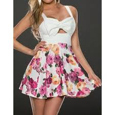 bow tie embellished sleeveless low cut design floral print