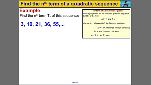 find the nth term of a quadratic sequence youtube